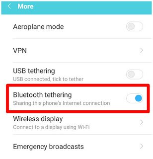 Red box point on Bluetooth tethering option in phone setting