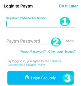 Login to Paytm fill mobile number and paytm password