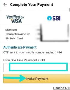Enter OTP and make payment