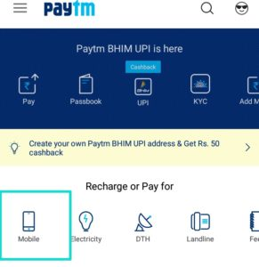 Paytm home page click Recharge for Mobile